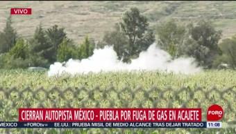 Sigue fuga de gas LP en la autopista México-Puebla