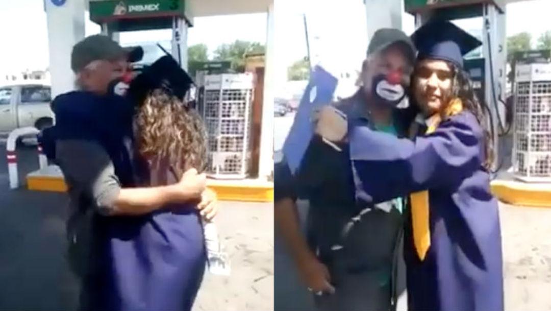 Foto Sorprende con diploma de graduación a su papá payaso 19 agosto 2019