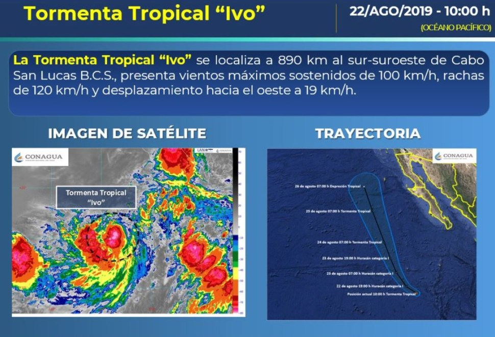 Foto: La tormenta tropical 'Ivo' se localizó a 890 kilómetros al sur-suroeste de Cabo San Lucas, 22 agosto 2019