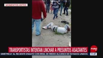 Transportistas intentan linchar a presuntos asaltantes en Ecatepec