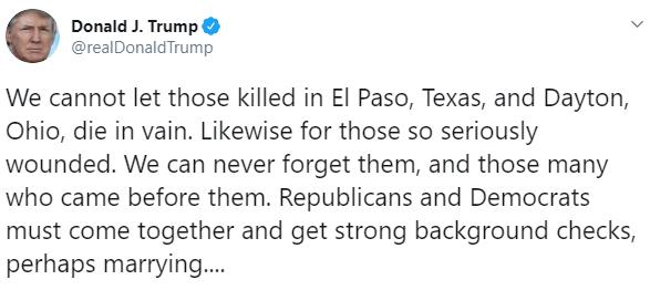 imagen Trump lamenta muertes por tiroteos en Ohio y Texas (Twitter)