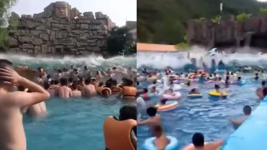 """Foto """"Tsunami"""" en alberca deja más de 40 heridos en China 1 agosto 2019"""