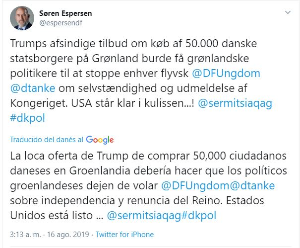 tuit groenlandia contra trump