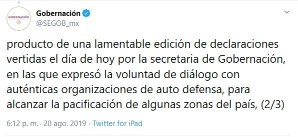 IMAGEN Segob aclara que no hay diálogo con el crimen organizado (Twitter)