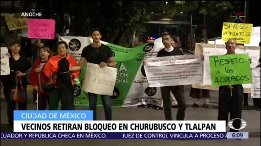 Vecinos levantan bloqueo en laterales de Churubusco