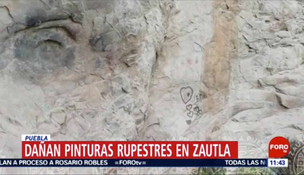 Foto: Video_ Vandalizan pinturas rupestres en Puebla. 13 agosto 2019