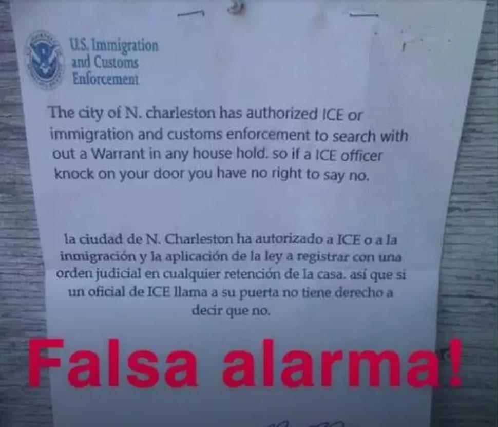 Foto: Volante falso de la agencia ICE. Twitter/@holanewsnc