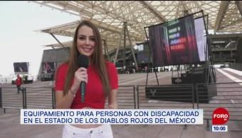 Zonas y accesos para personas con discapacidad en el estadio de Los Diablos Rojos del México