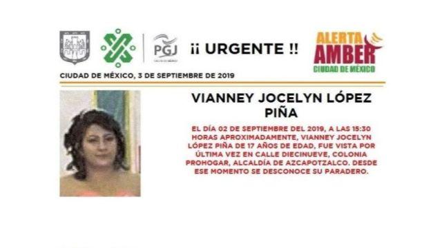 Foto Alerta Amber Ayuda a localizar a Vianney Jocelyn López Piña 3 septiembre 2019