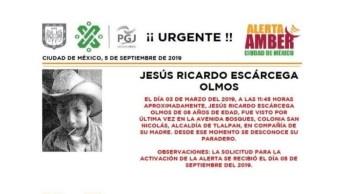 Foto Alerta Amber para localizar a Jesús Ricardo Escárcega Olmos 6 septiembre 2019