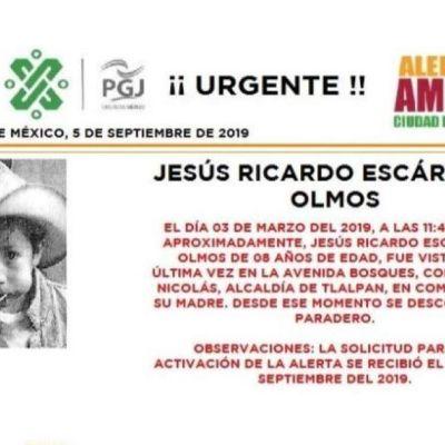 Alerta Amber: Ayuda a localizar a Jesús Ricardo Escárcega Olmos