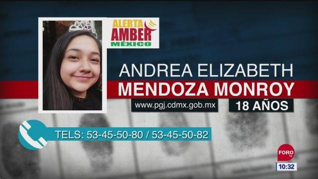 Alerta Amber para localizar a Andrea Elizabeth Mendoza Monroy