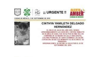 Foto Alerta Amber para localizar a Cinthya Yamileth Delgado 5 septiembre 2019