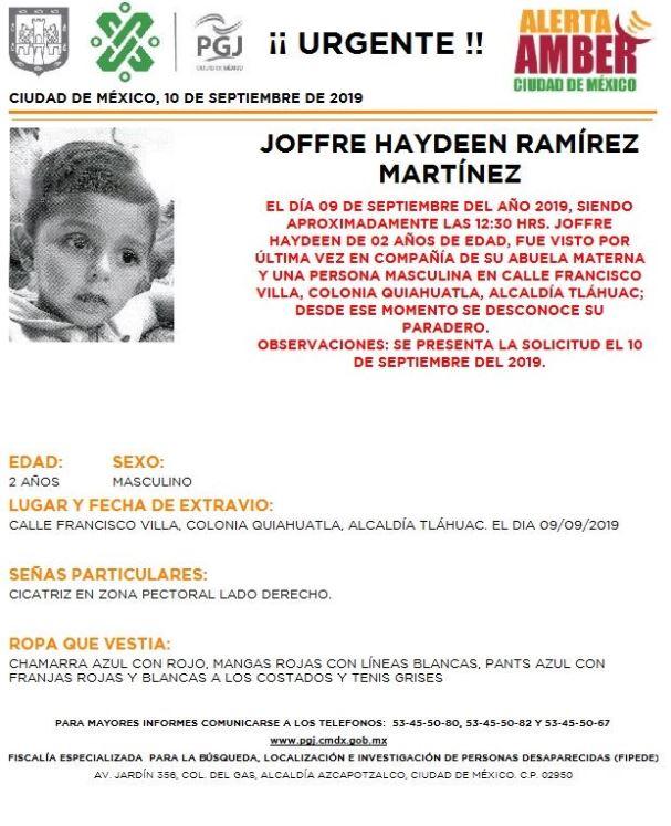 Foto Alerta Amber para localizar a Joffre Haydeen Ramírez Martínez 10 septiembre 2019