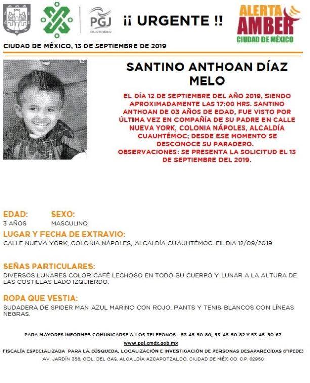 Foto Alerta Amber para localizar a Santino Anthoan Díaz Melo 13 septiembre 2019
