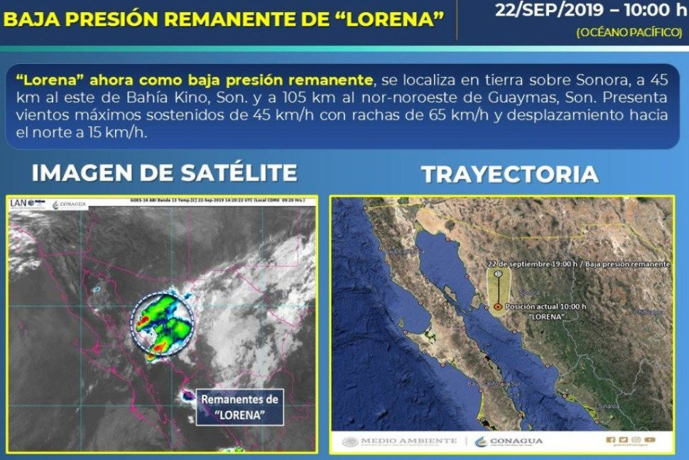 """""""Lorena"""" se degrada a baja presión remanente y se localiza en tierra sobre Sonora, 22 septiembre 2019"""