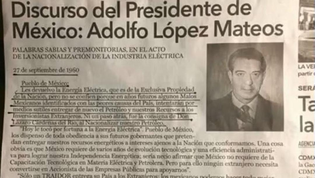 Foto: AMLO recuerda carta de Adolfo López Mateos sobre nacionalización de la industria eléctrica, 26 septiembre 2019