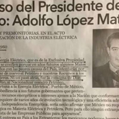 AMLO recuerda carta de Adolfo López Mateos sobre nacionalización de industria eléctrica