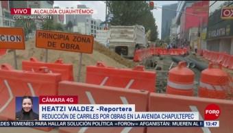 FOTO: Cierran Carriles Laterales Avenida Chapultepec Por Obras