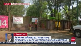 Cierran válvula de vaporización de aguas negras tras fuga en Iztacalco