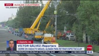 Foto: Cierran Viaducto Miguel Alemán Para Retirar Espectacular
