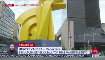 FOTO: Concluye mantenimiento Escultura El Caballito Reforma