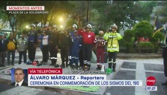 Conmemoran a víctimas de los sismos del 19S en la Plaza de la Solidaridad