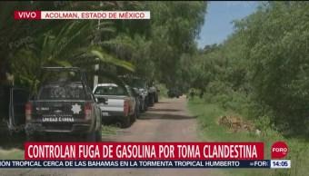 FOTO:Controlan fuga de combustible por toma clandestina en Acolman, 15 Septiembre 2019