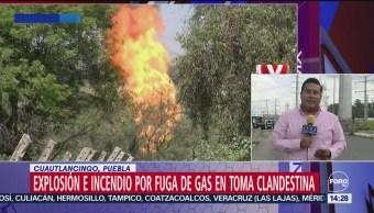 FOTO: Controlan fuga de gas en toma clandestina de Puebla, 16 septiembre 2019