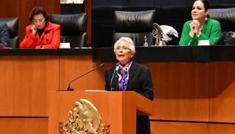Foto: Olga Sánchez Cordero en el pleno del Senado, 26 de septiembre de 2019 (Twitter @Segob)