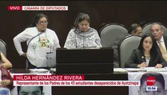 Familiares de normalistas de Ayotzinapa hablan en la Cámara de Diputados