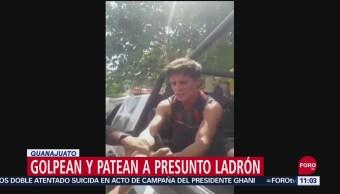 Golpean y patean a presunto ladrón en Guanajuato