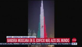 FOTO: Iluminan con la bandera de México el Burj Khalifa de Dubái, 16 septiembre 2019
