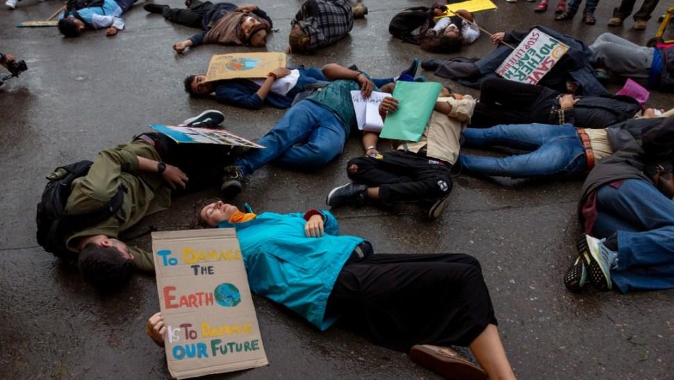 Foto: Activistas durante protesta contra el cambio climático, 20 de septiembre 2019, India