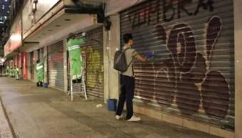Foto: Limpian graffitis en el Centro Histórico, 5 de septiembre de 2019, Ciudad de México