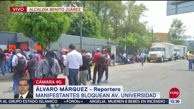 Foto: Manifestantes Bloqueo Avenida Universidad Churubusco Cdmx 24 Septiembre 2019
