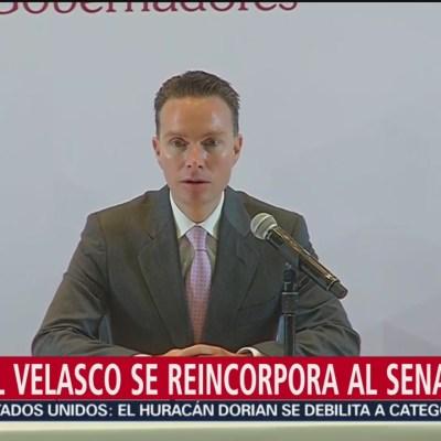 Manuel Velasco se reincorpora al Senado