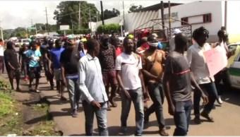 Foto: Migrantes africanos protestaron en Tapachula, 21 de septiembre de 2019 (Foro TV)