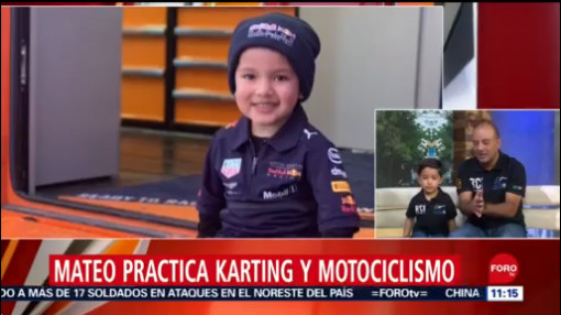 FOTO: Mateo, niño que practica karting y motociclismo, 30 septiembre 2019