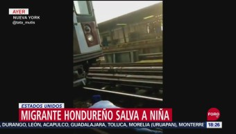 Foto: Migrante Hondureño Salva Niña Tren Nueva York 24 Septiembre 2019