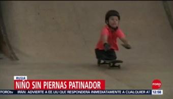 Niño skater se hace viral, el atleta no tiene piernas