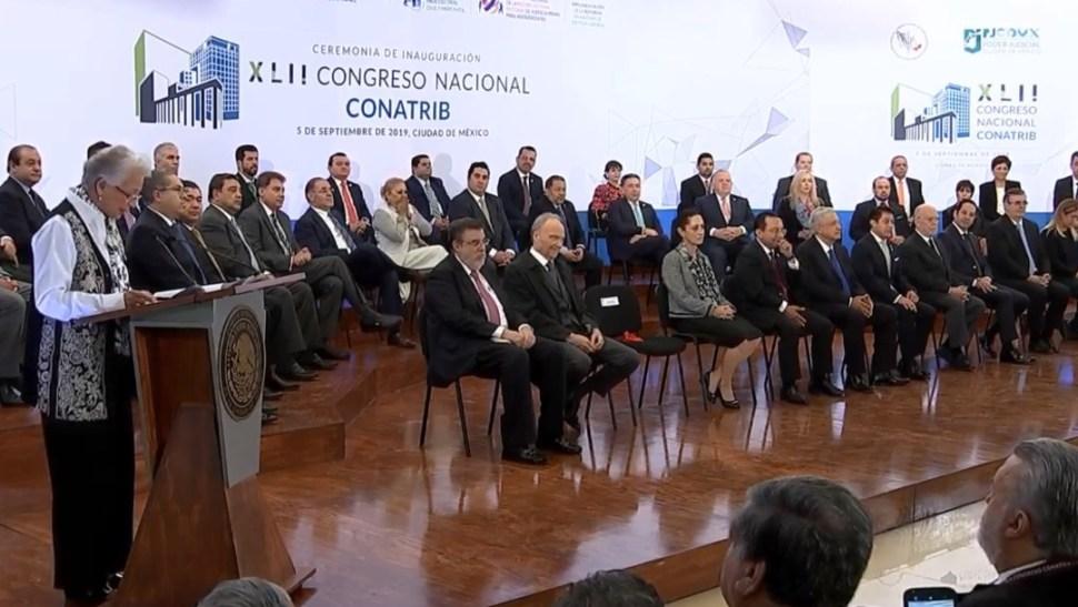 FOTO Olga Sánchez Cordero, titular de Segob, en el Congreso Nacional de Tribunales (YouTUbe)