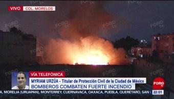 Foto: Bomberos Trabajan Apagar Incendio Colonia Morelos 9 Septiembre 2019