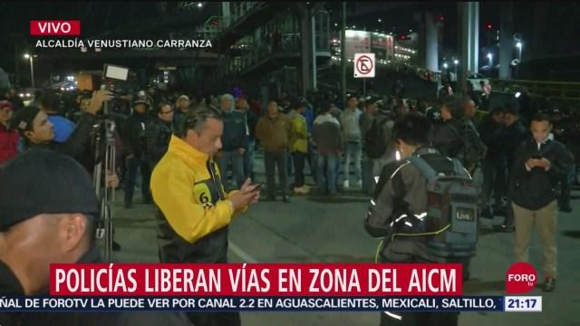 FOTO: Policías federales liberan parcialmente vías en zona del AICM, 13 SEPTIEMBRE 2019