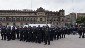 Foto: Policías capitalinos en el Centro Histórico, 15 septiembre 2019