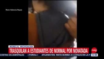 FOTO: Rapan a estudiantes durante novatada de Escuela Normal en Michoacán, 16 septiembre 2019
