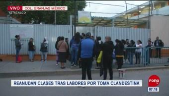 Reanudan clases tras labores por toma clandestina en Iztacalco