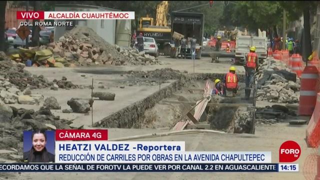 FOTO: Reducción Carriles Afectan Vialidad Avenida Chapultepec CDMX