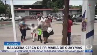 FOTO:Resguardan a estudiantes en escuela de Guaymas por balacera, 16 septiembre 2019