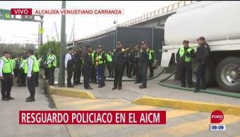 Resguardo policiaco en el Aeropuerto Internacional de la CDMX